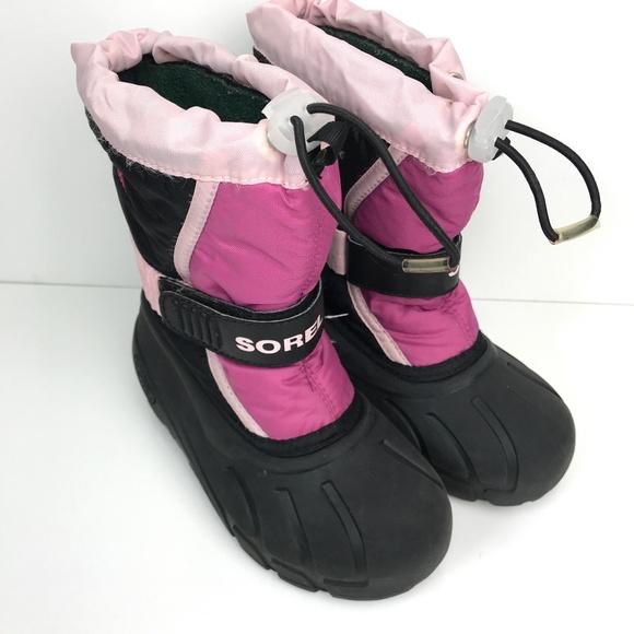 SOREL Youth KIDS Pink Rose GLITTER Tivoli WATERPROOF WINTER BOOTS Girls US 2 3 7